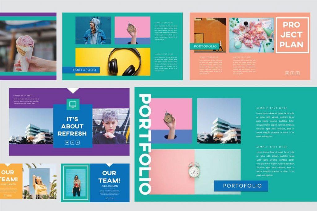 Sample Refresh Powerpoint Template Portfolio slide.