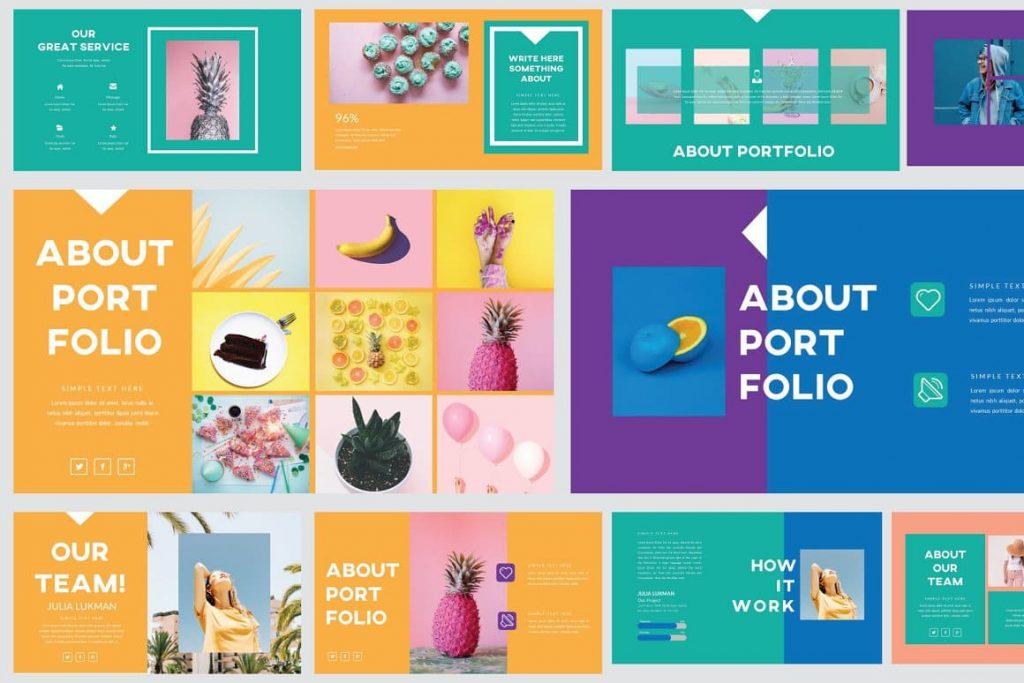 About Portfolio Slides Refresh Powerpoint Template.