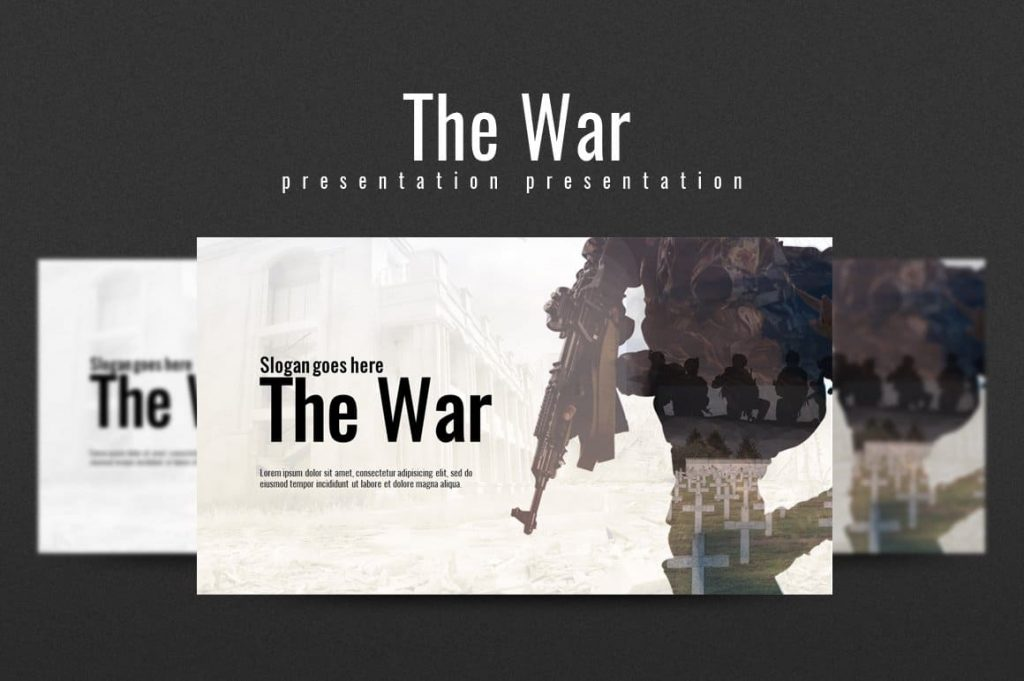 Cover of The War Powerpoint Presentation Template.