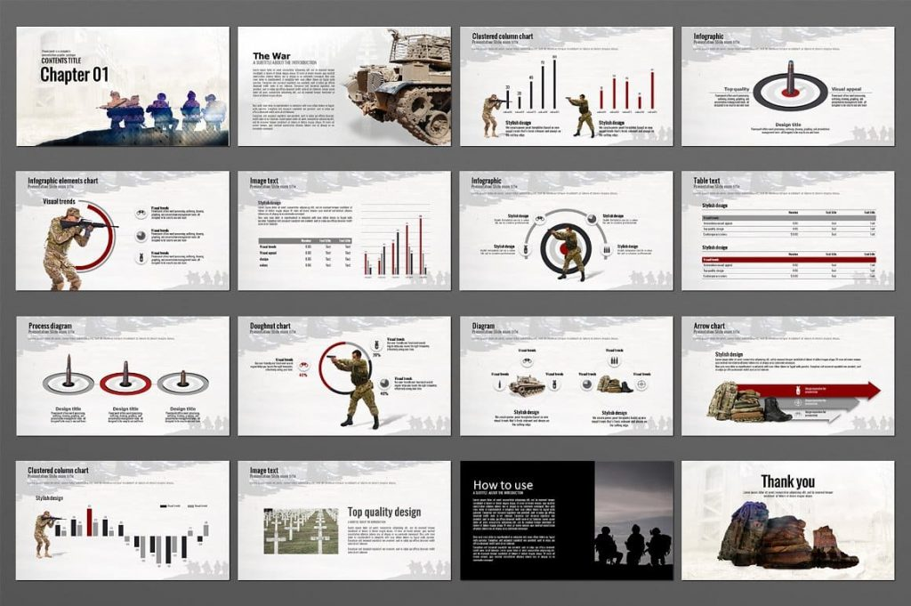 210 slides for The War Powerpoint Presentation Template.