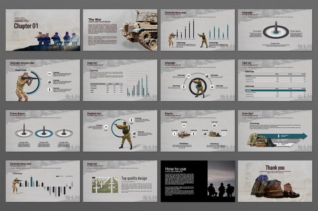 The War Powerpoint Presentation Template in Full HD.