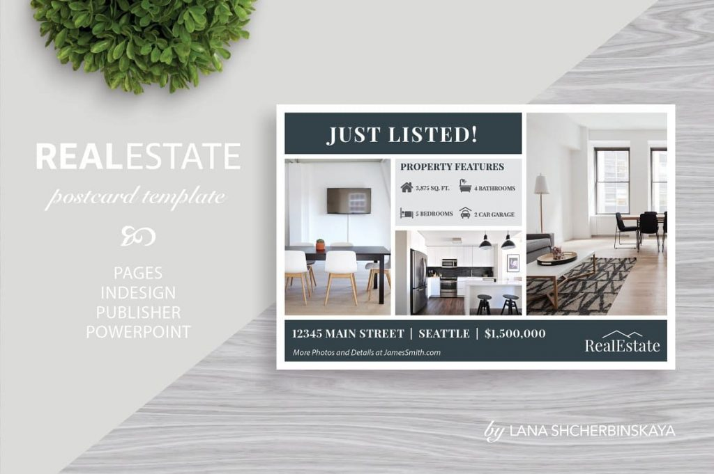 Beautiful interiors for Real Estate Postcard Template No.1.