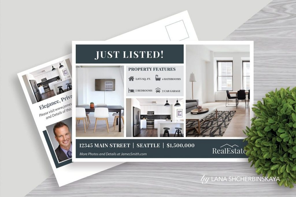 Real Estate Postcard Template No.1 for Business Promotion.