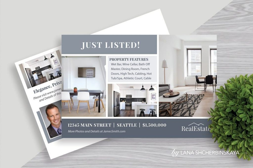 Modern and clean Real Estate Postcard Template No.1.
