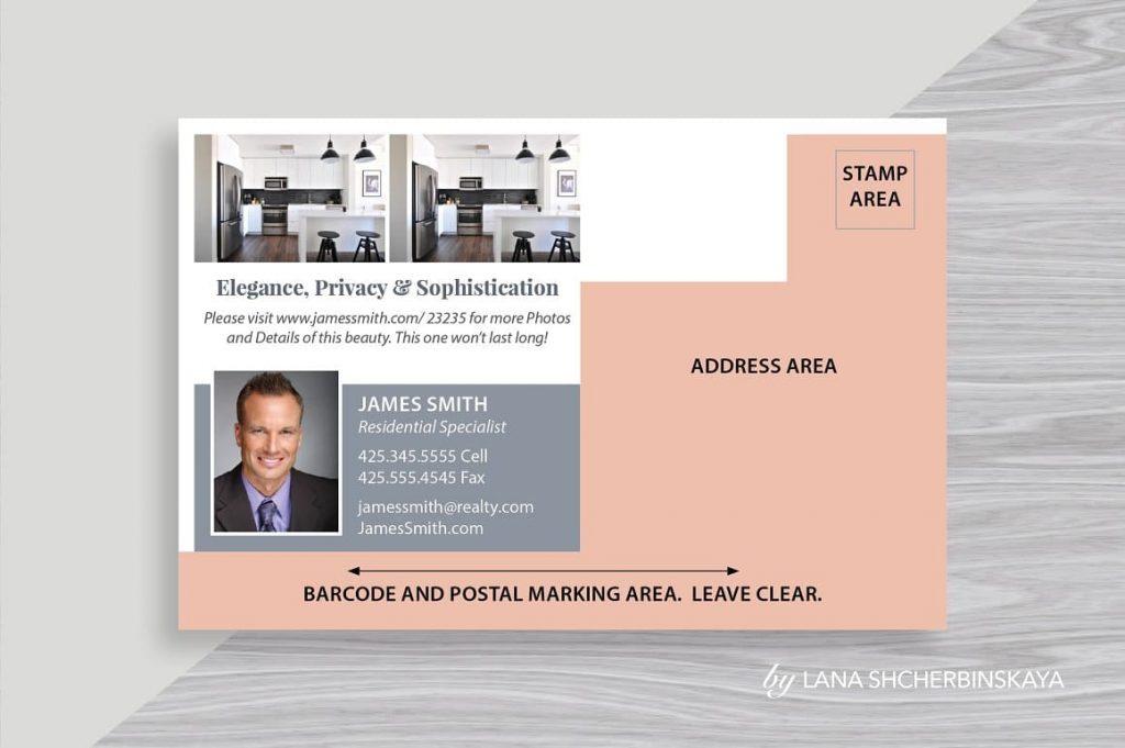 Easily Editable Real Estate Postcard Template No.1.