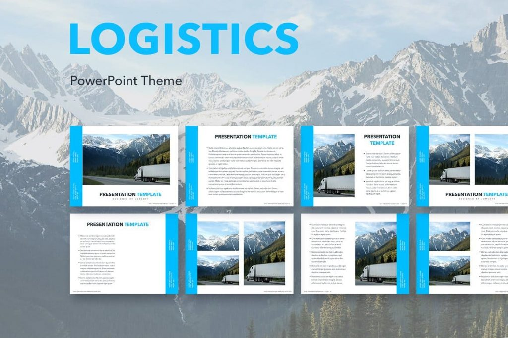 The Logistics template offers a professional look for your unique MS PowerPoint slideshows.
