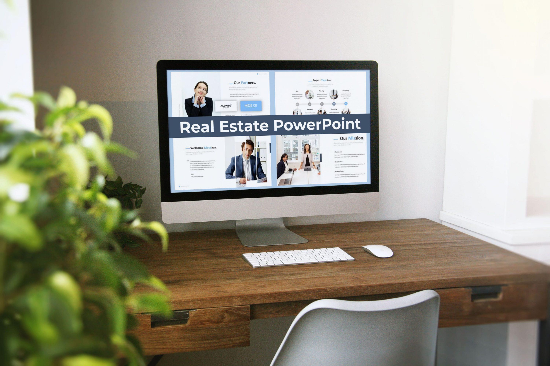 Real Estate Powerpoint Template by MasterBundles Desktop preview mockup image.