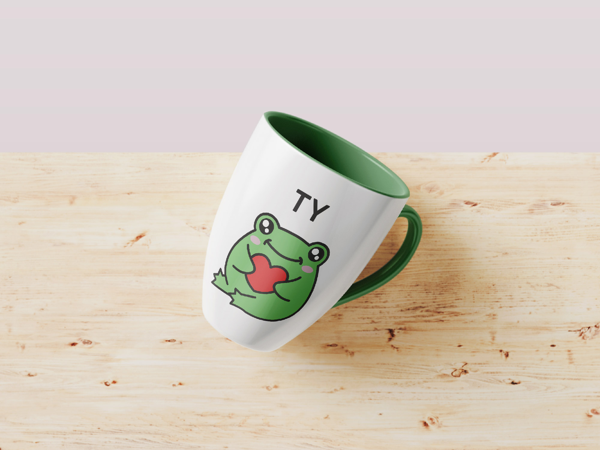 frog stickers previews cup mockup.