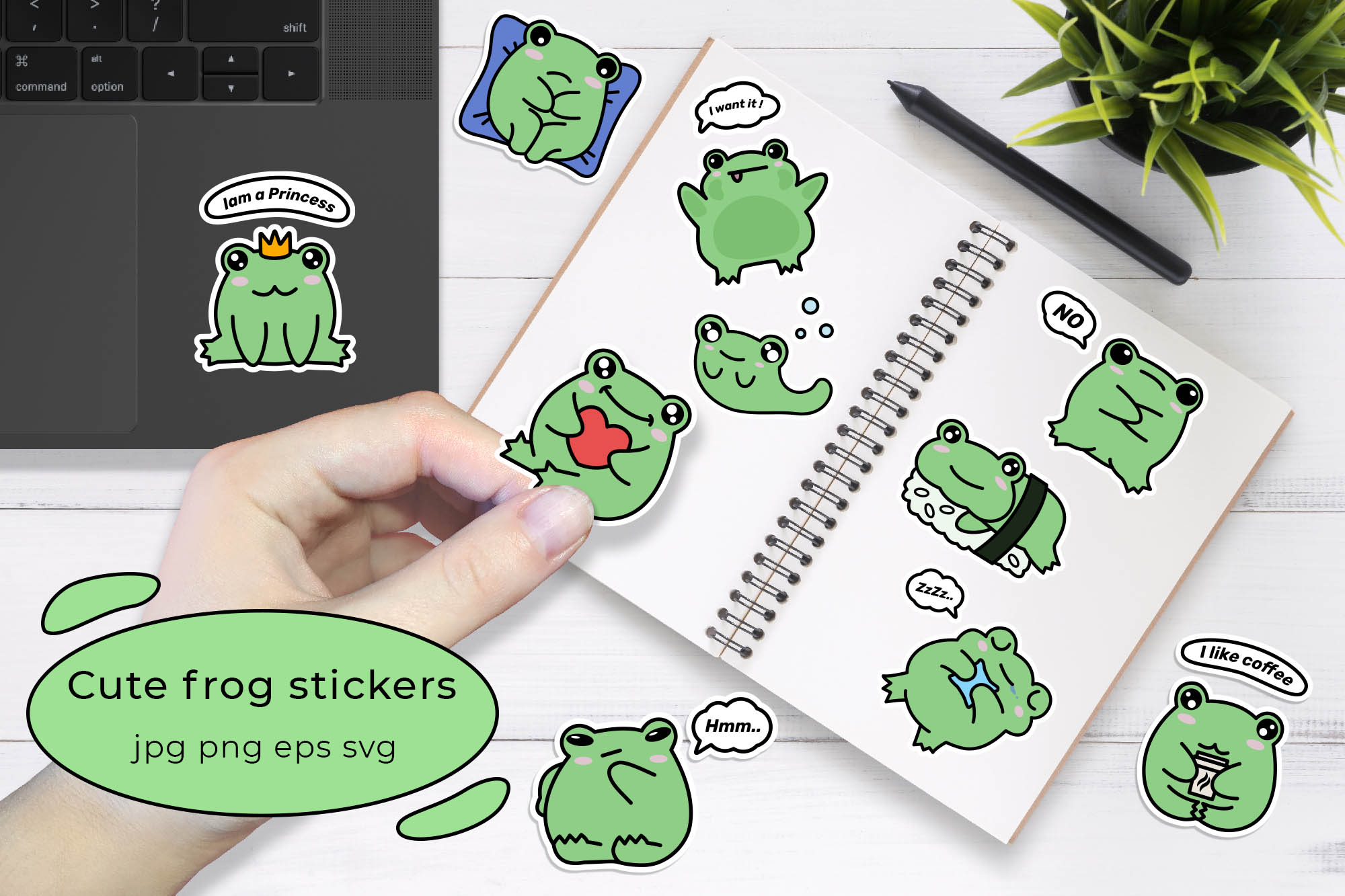 cute frog stickers on planner preview.