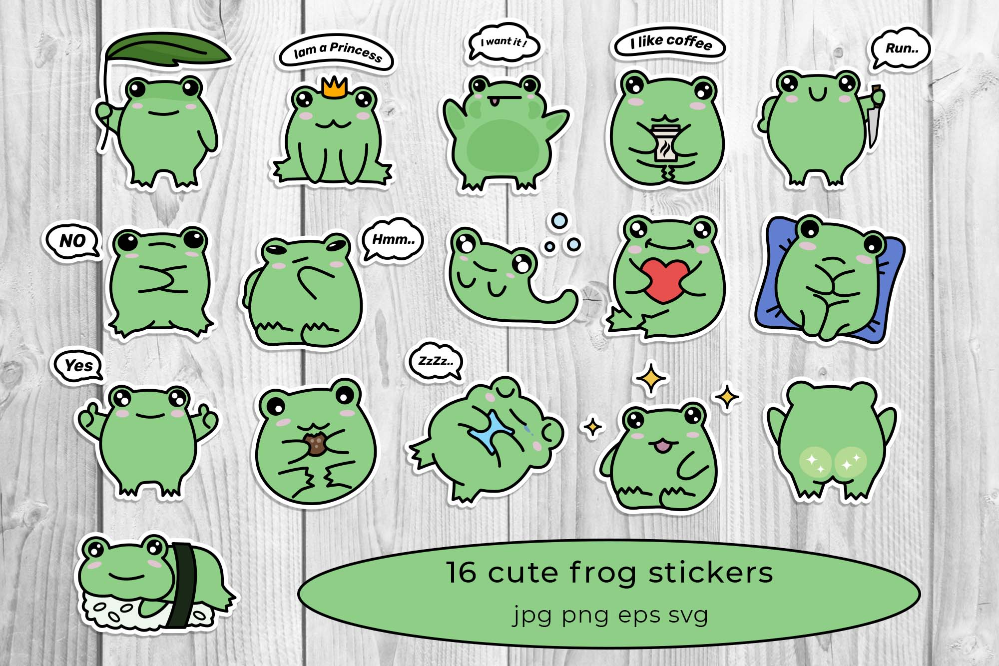 gallery of cure frog stickers.
