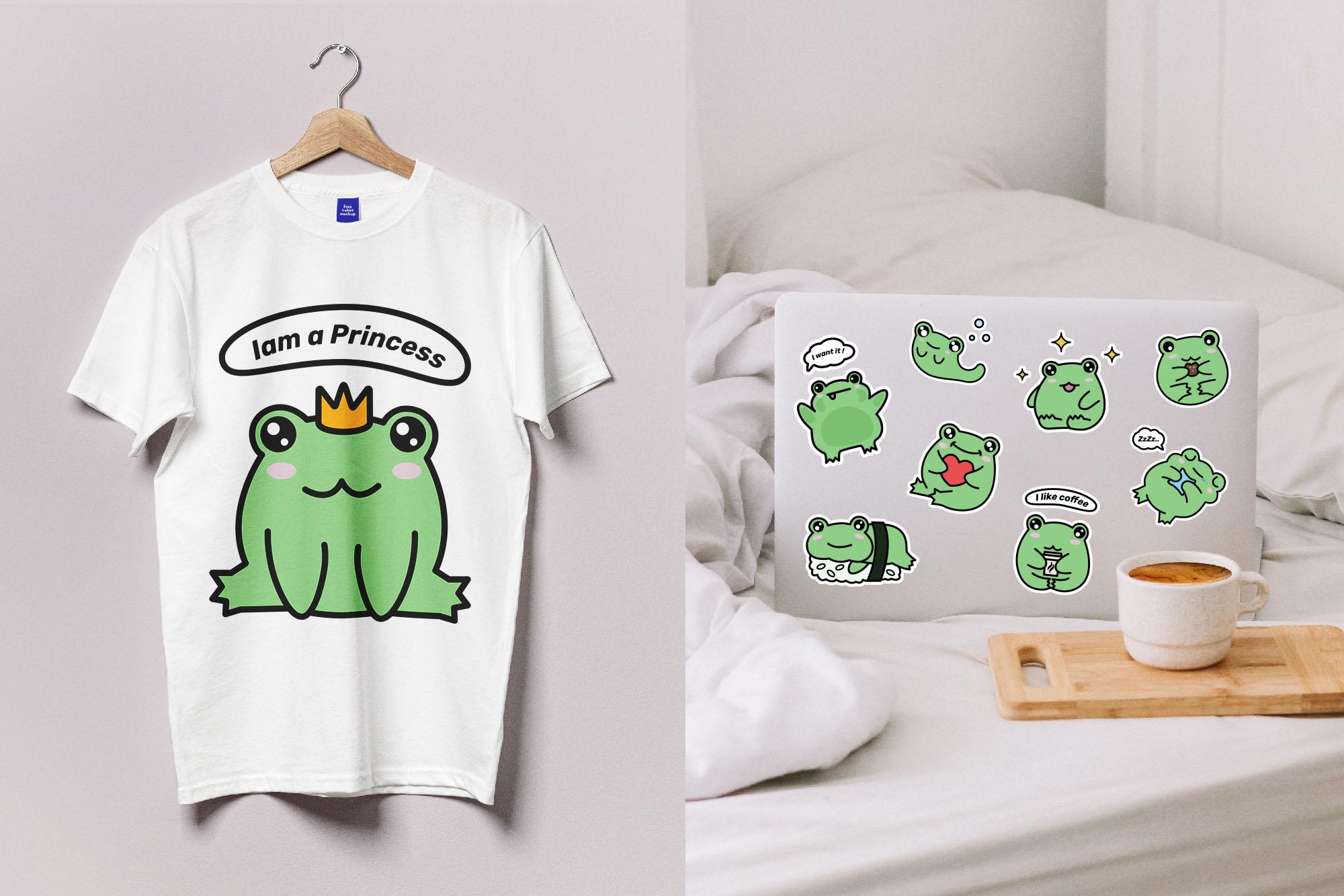 cute frog illustration on t-shirt.