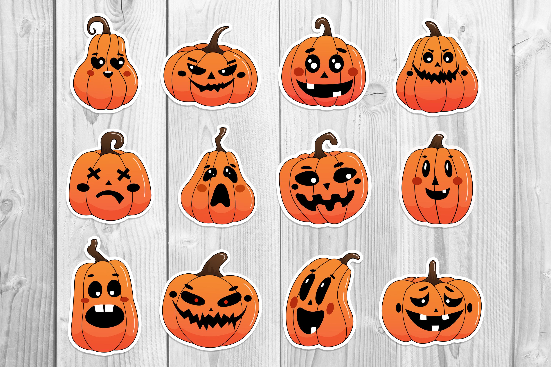 Halloween pumpkin stickers gallery preview.