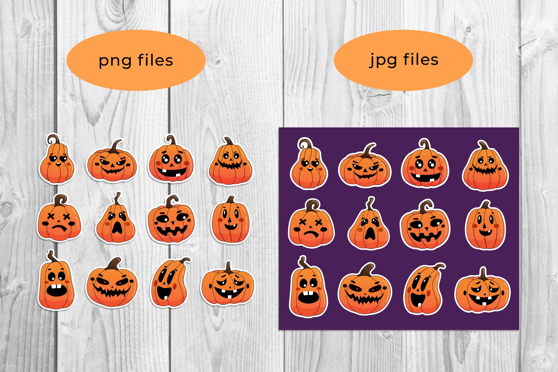 Halloween pumpkin stickers pack.