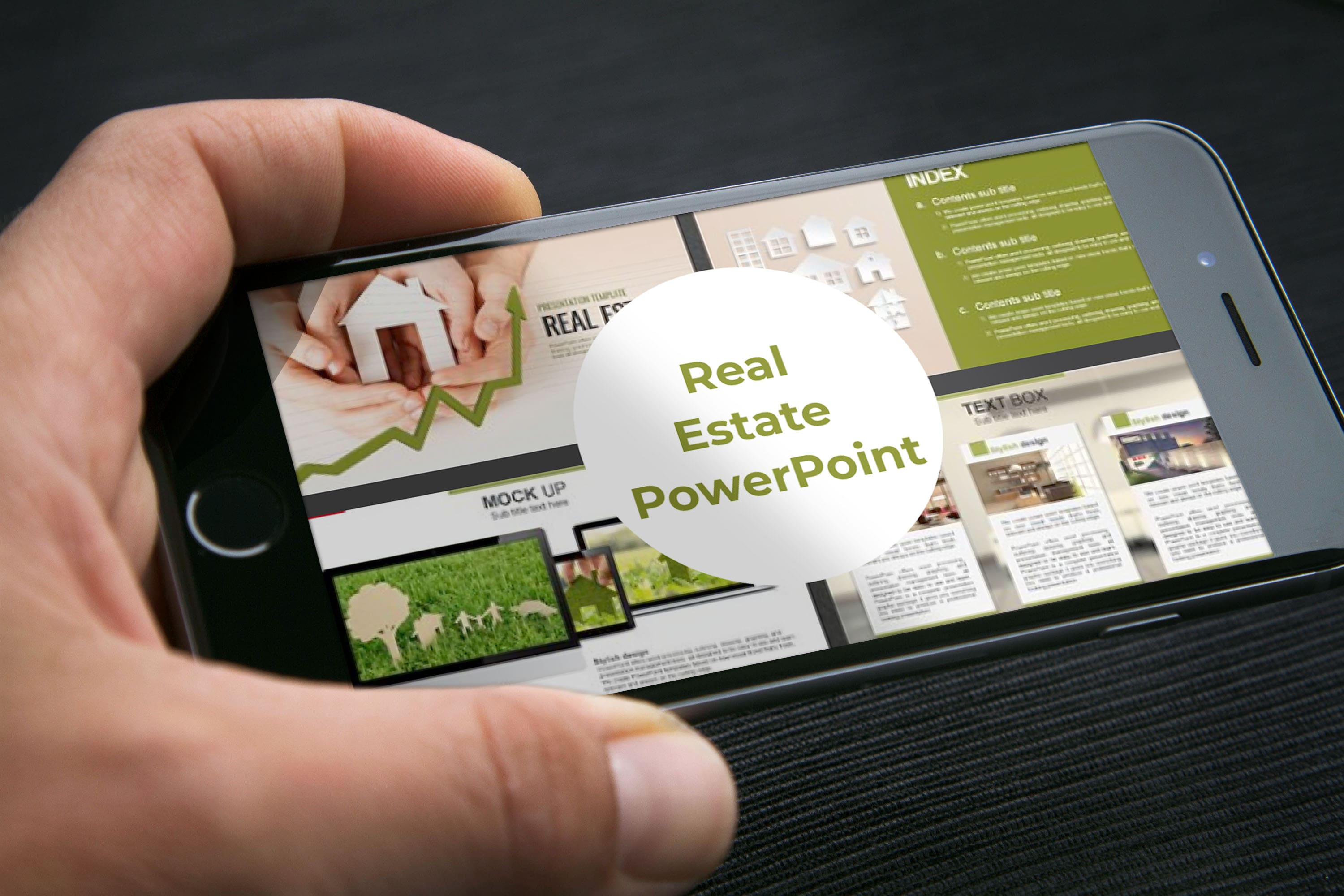 Real Estate PowerPoint Template by MasterBundles mobile preview mockup image.