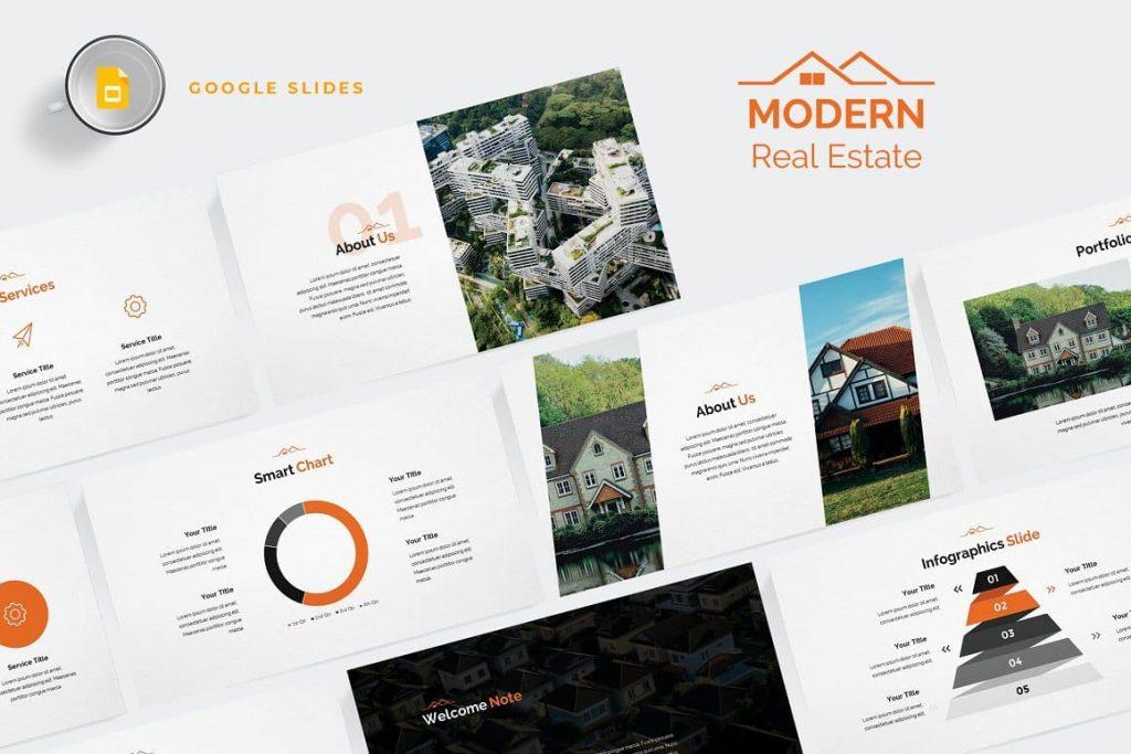 Preview of Modern Real Estate Google Slides.