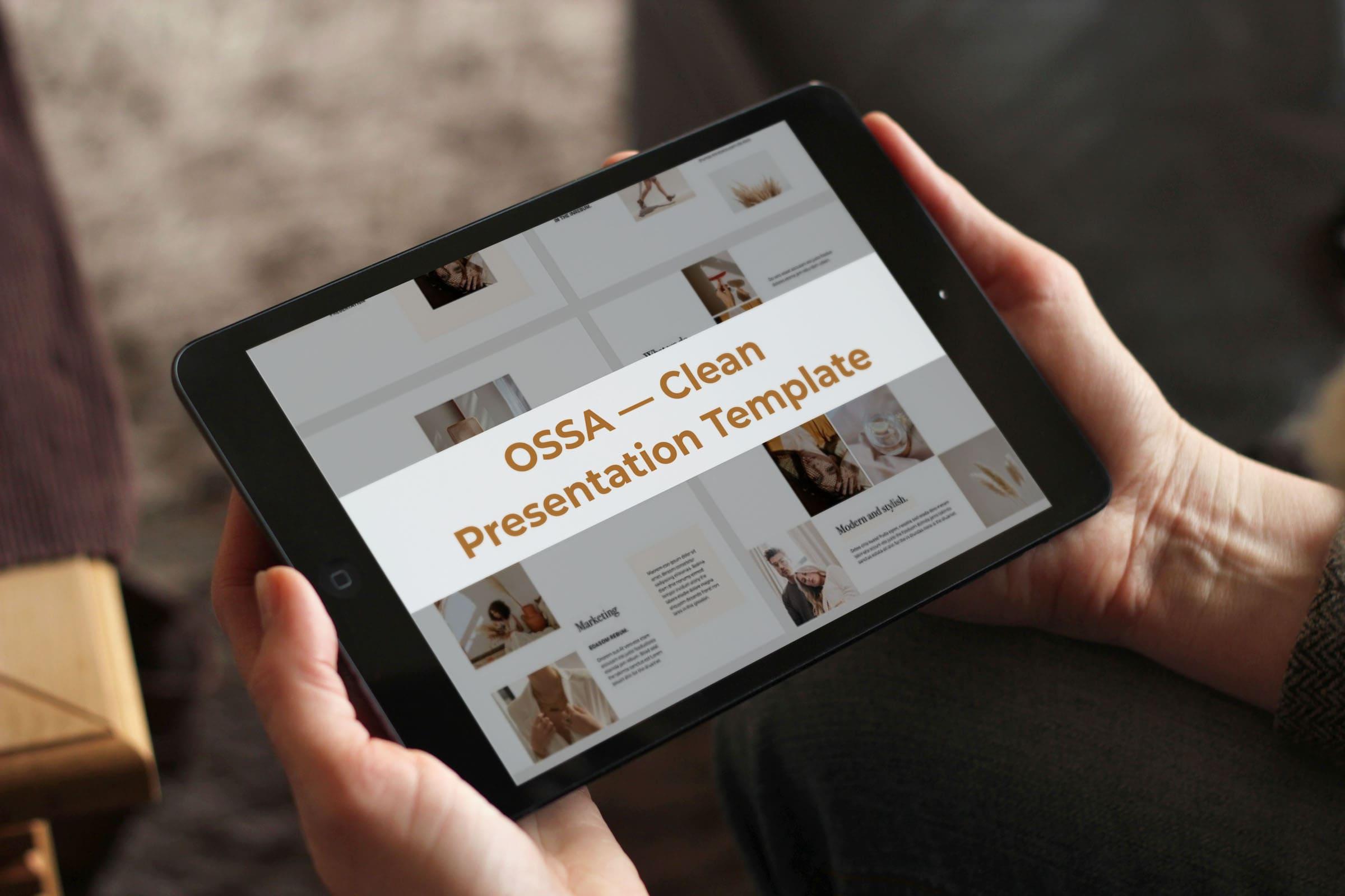 OSSA Google Slides Template by MasterBundles note preview mockup image.