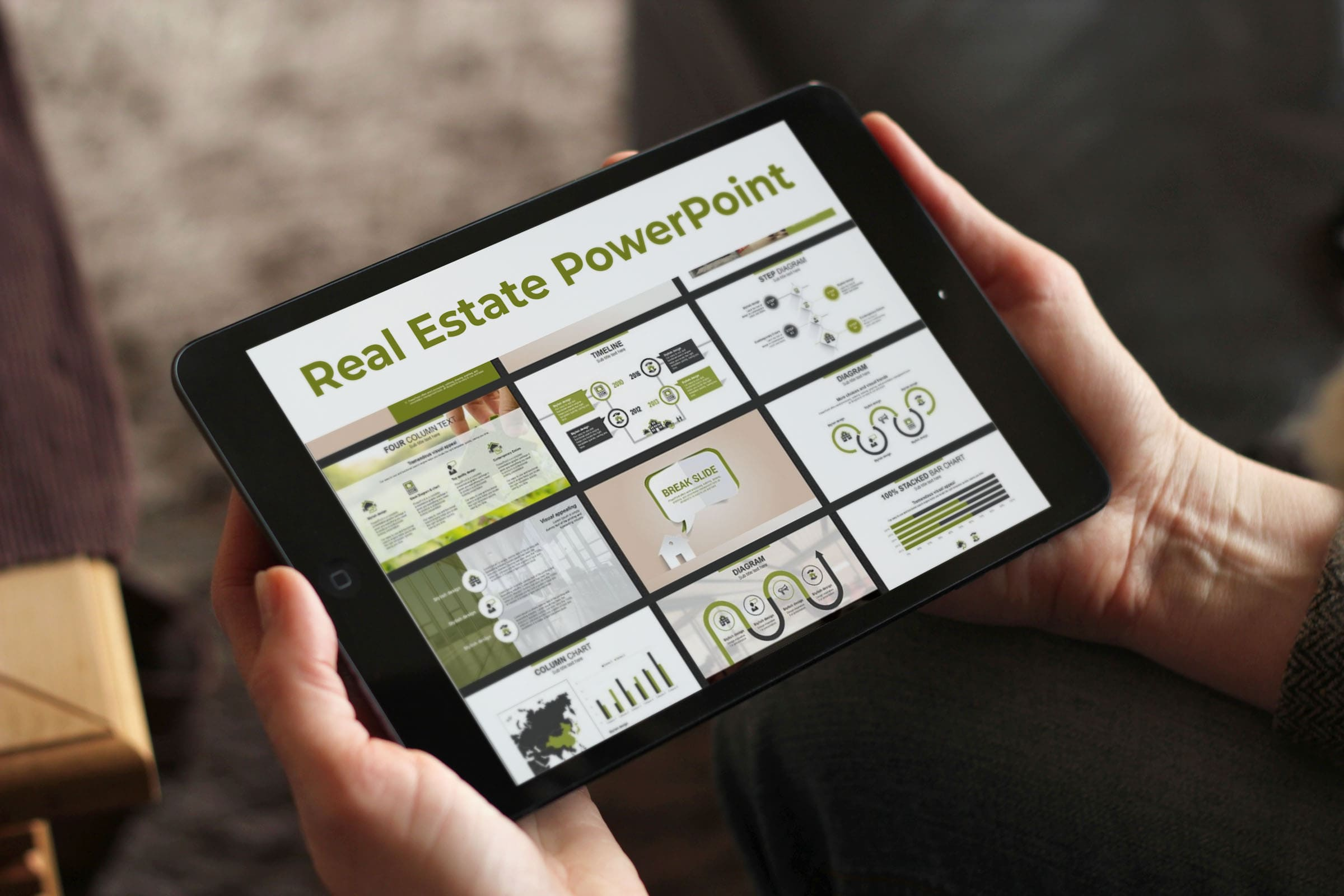 Real Estate PowerPoint Template by MasterBundles note preview mockup image.