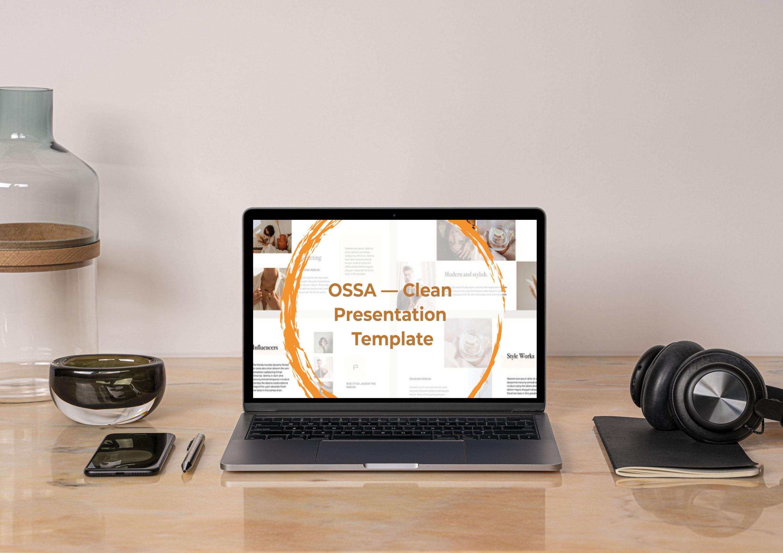 OSSA Google Slides Template by MasterBundles notebook preview mockup image.