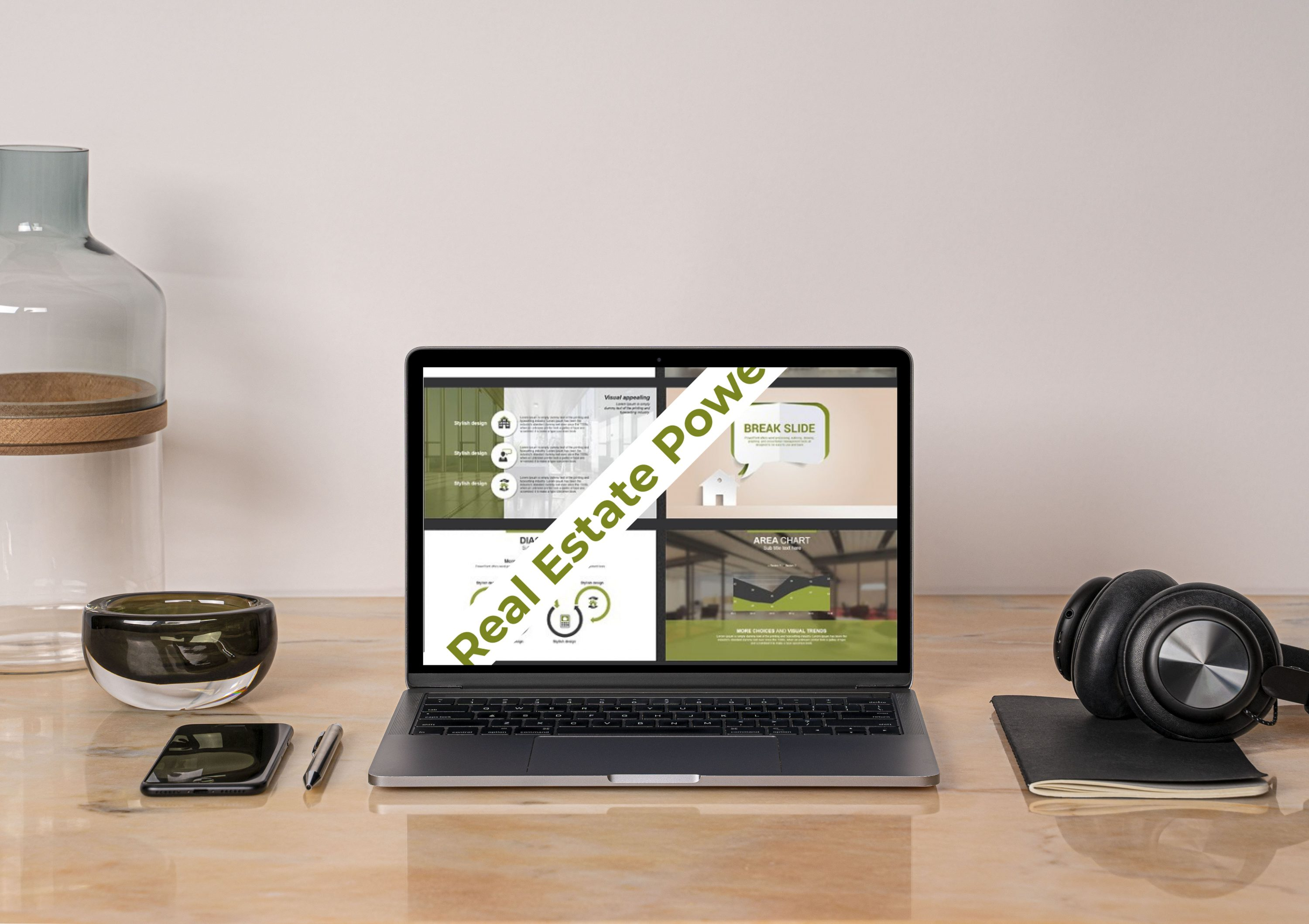 Real Estate PowerPoint Template by MasterBundles notebook preview mockup image.