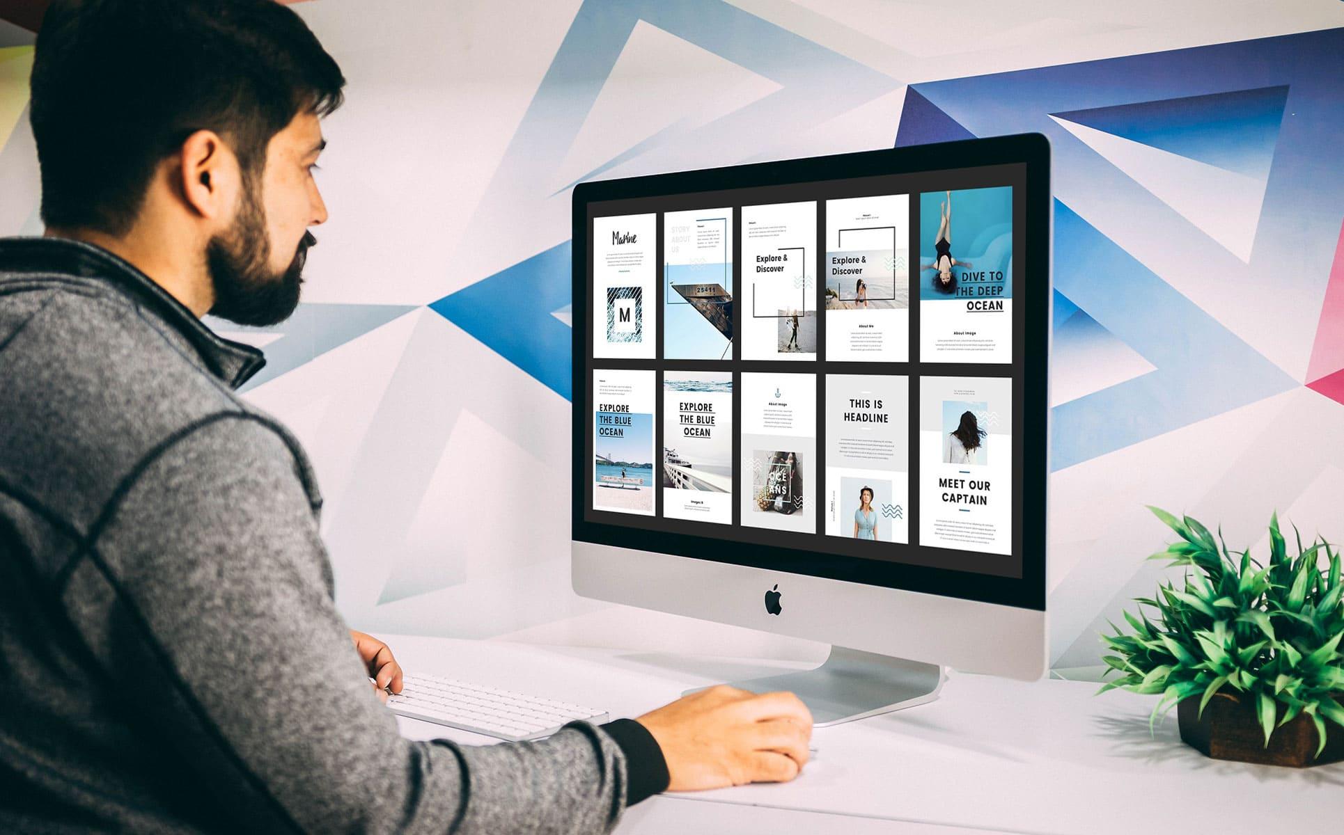 Nautical - A4 Printable PowerPoint by MasterBundles Desktop preview mockup image.