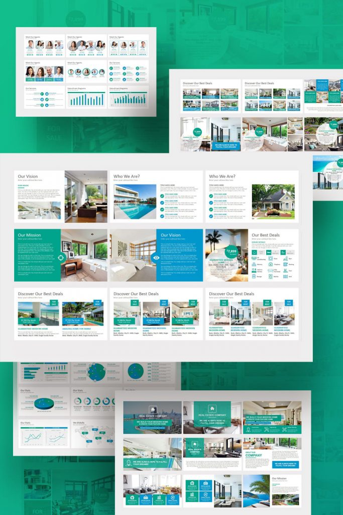 Real Estate PowerPoint Template by MasterBundles Pinterest Collage Image.
