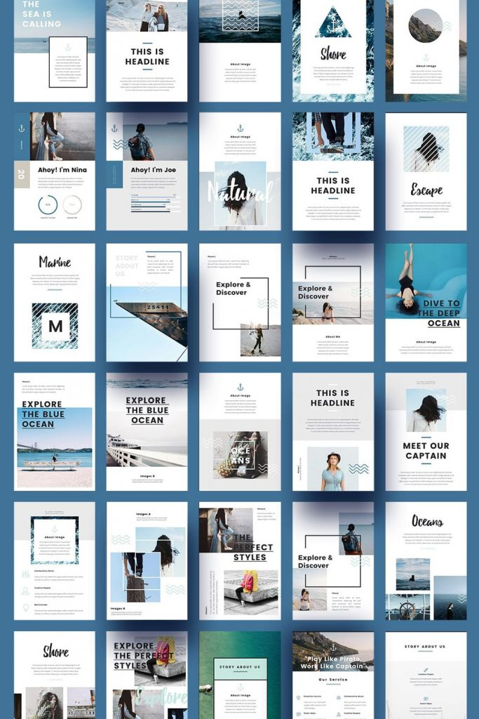 Nautical - A4 Printable PowerPoint by MasterBundles Pinterest Collage Image.