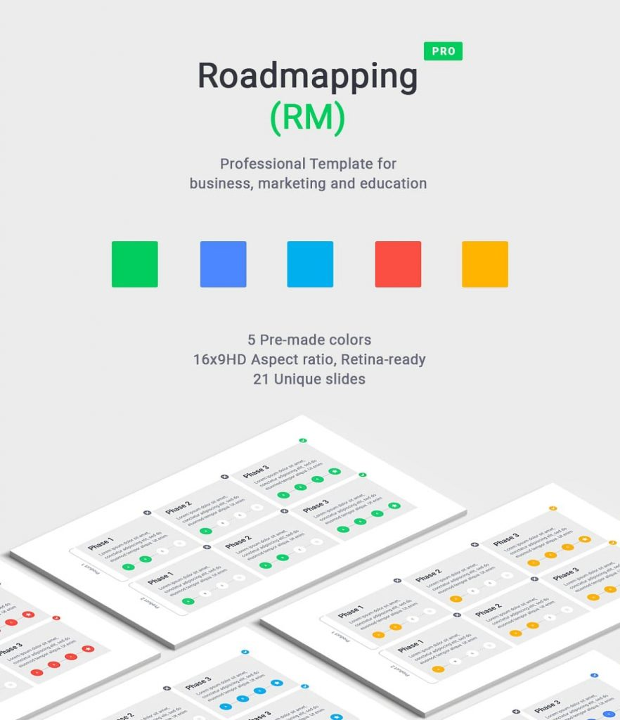 Color options for Roadmapping for PowerPoint.