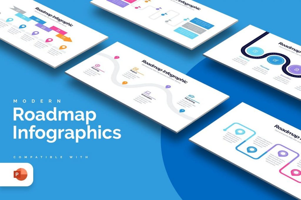 Cover of the Roadmap Powerpoint Infographics.
