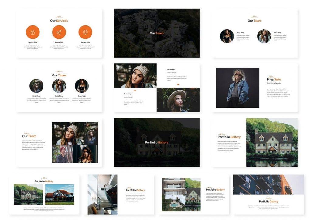 Slides Our team Modern Real Estate Google Slides.