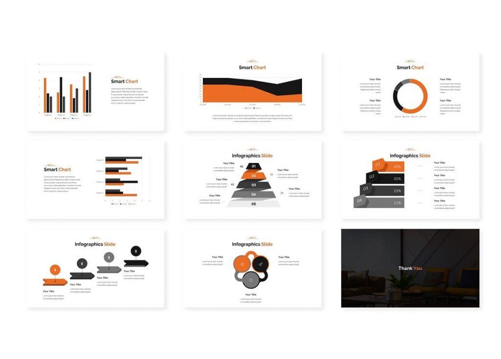 Graphs and charts for Modern Real Estate Google Slides.