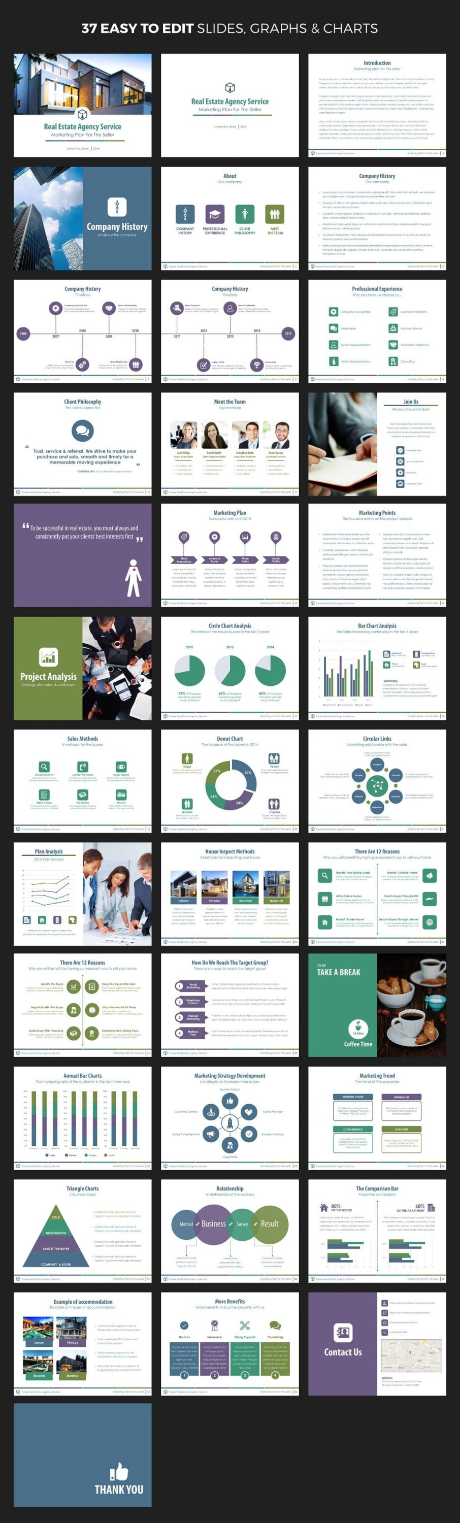 Mockup with all slides Real Estate PowerPoint Template V.1.