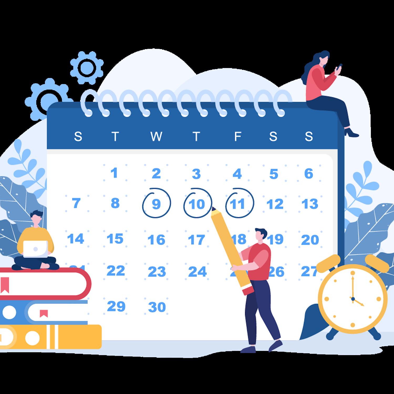 18 Planning Schedule or Time Management Calendar Illustrations cover image.