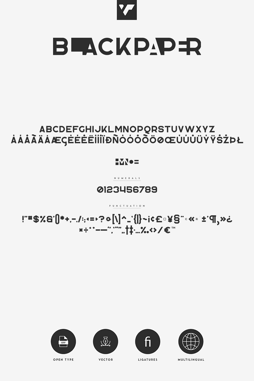 Blackpaper – 1st Negative Space Font Pinterest images.