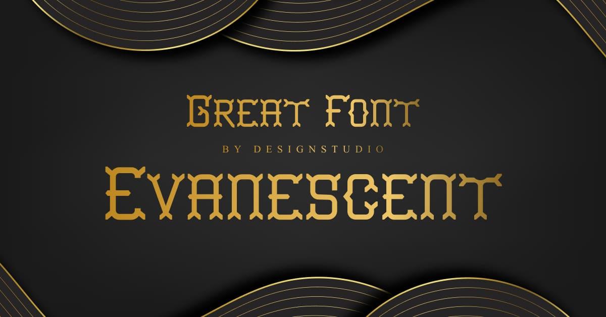 01. Evanescent Slab Serif Font Jagged font in gold color.
