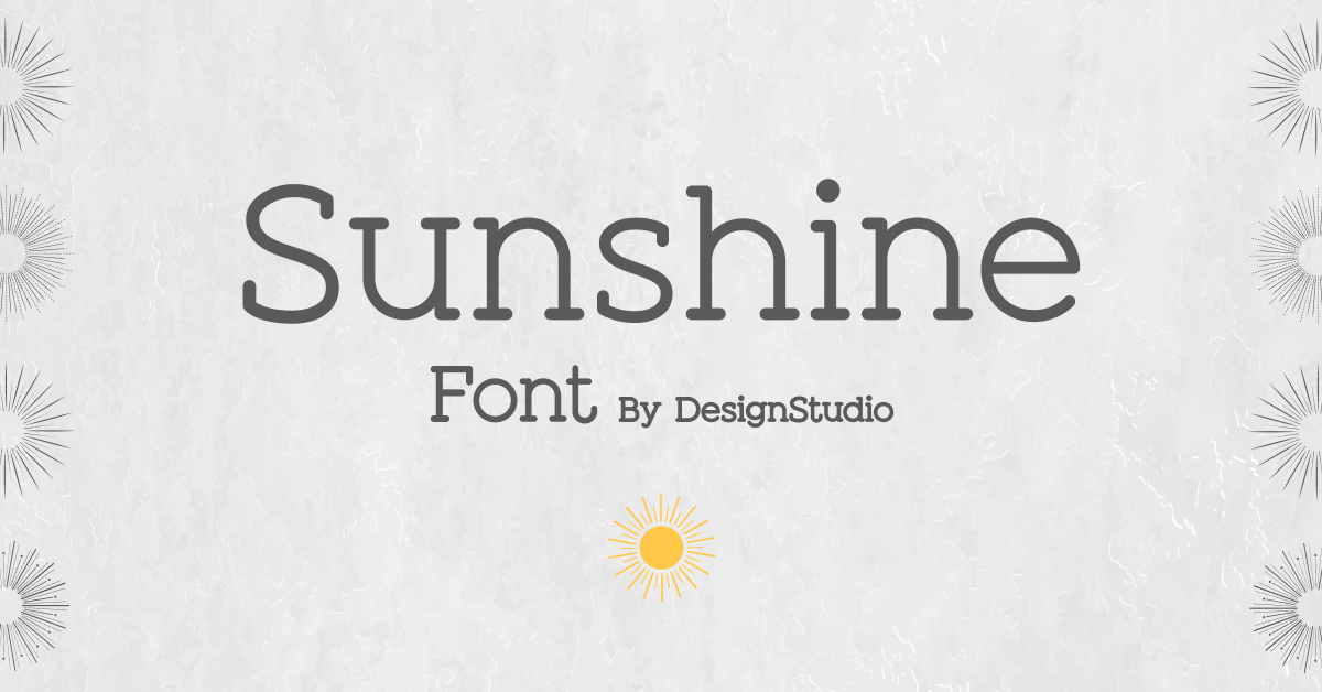 Grey background with thin grey sun and bold font.