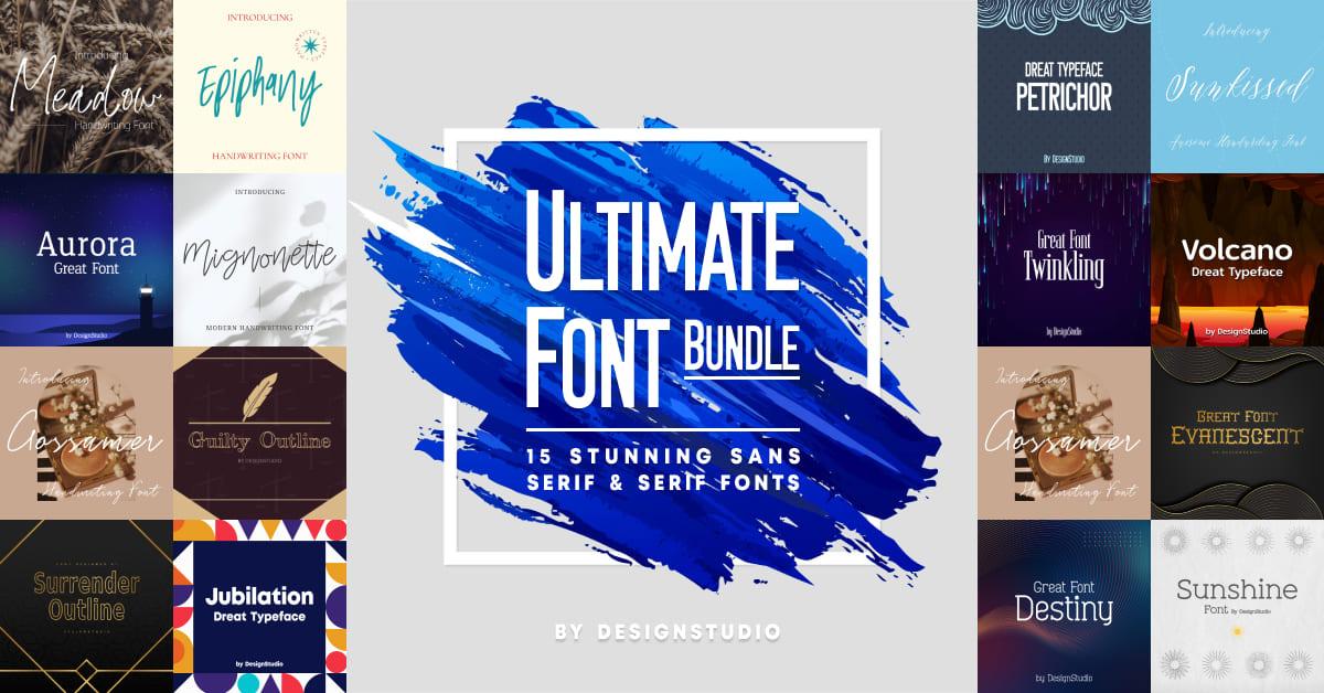 Ultimate Font Bundle: 15 Stunning Sans Serif & Serif Fonts  facebook cover image.