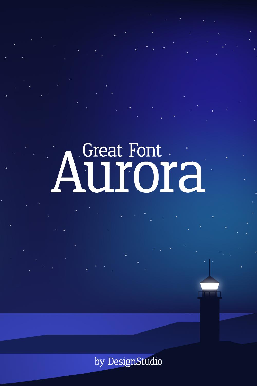 Aurora Monospaced Serif Font Pinterest cover image.