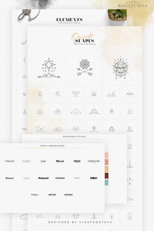 Craft Kit Logo templates Shapes Elements minimal logos.