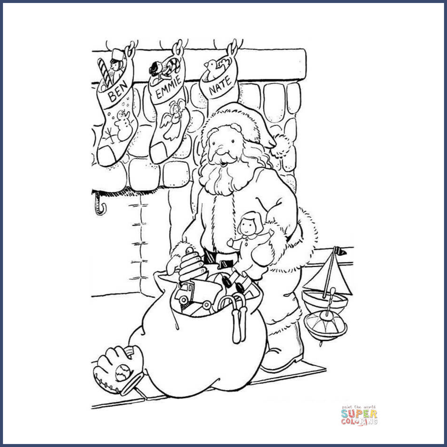 Everyone Will Get His Present coloring page cover image.