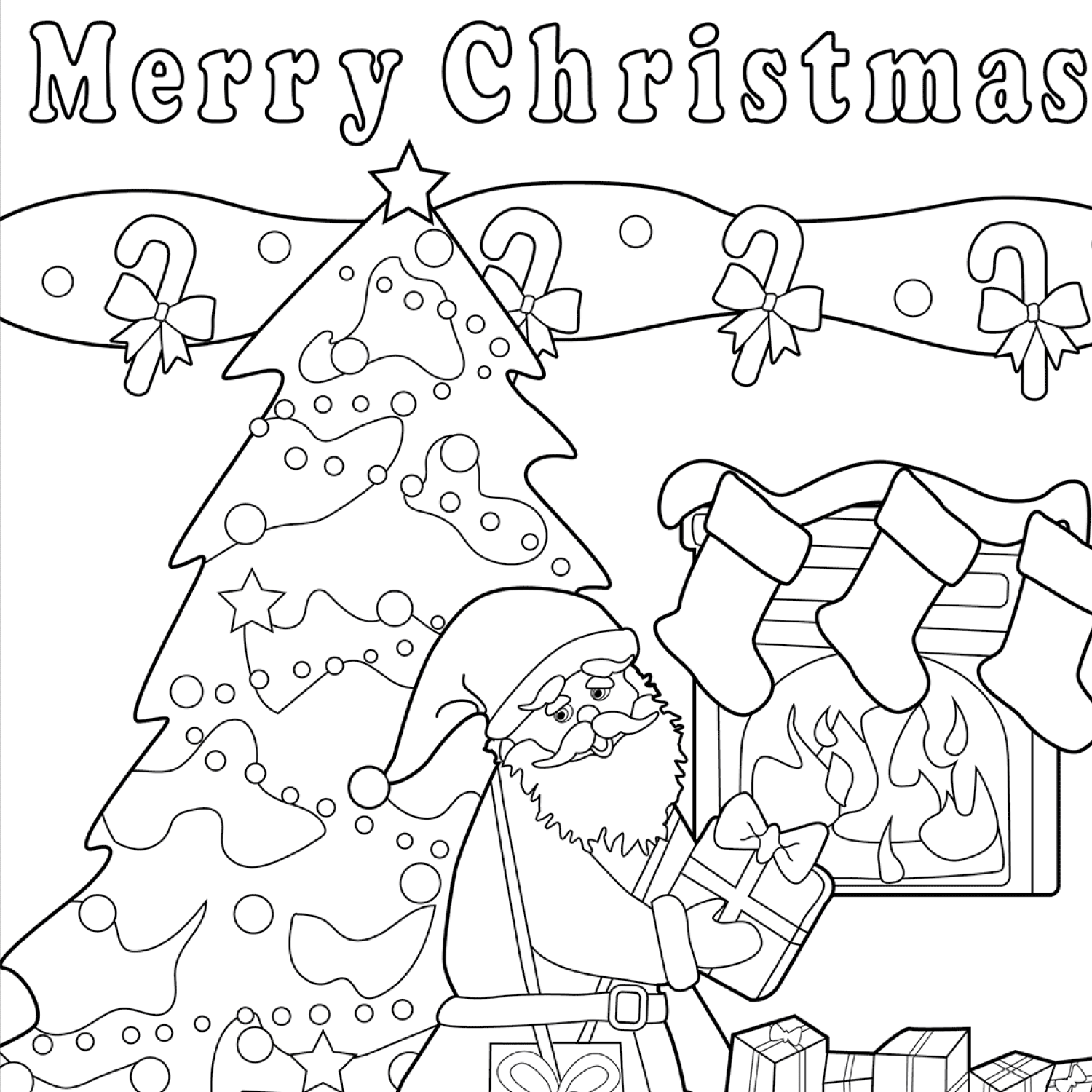 Merry Christmas coloring page cover image.