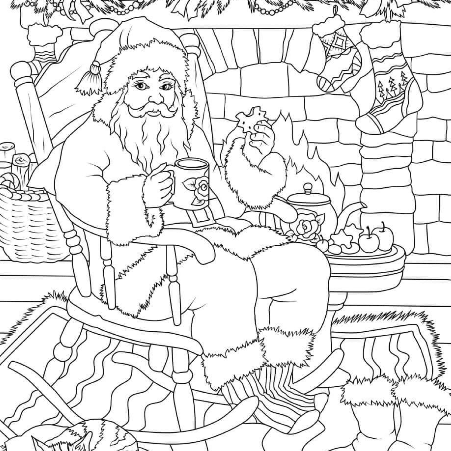 Santa Claus drinking tea with cookie while soaking up in front of the fireplace cover image.