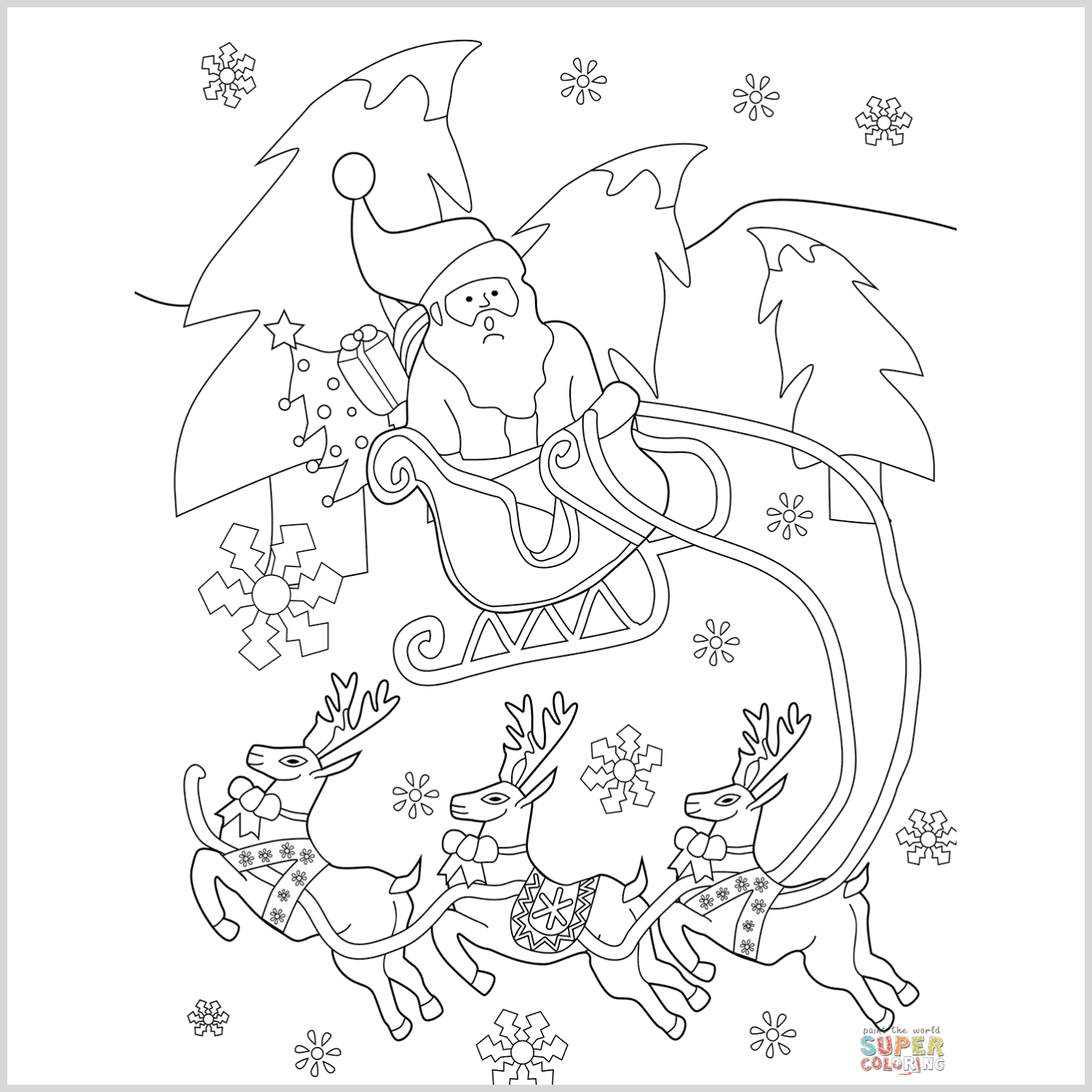Santa on His Sleigh with Reindeers coloring page cover image.