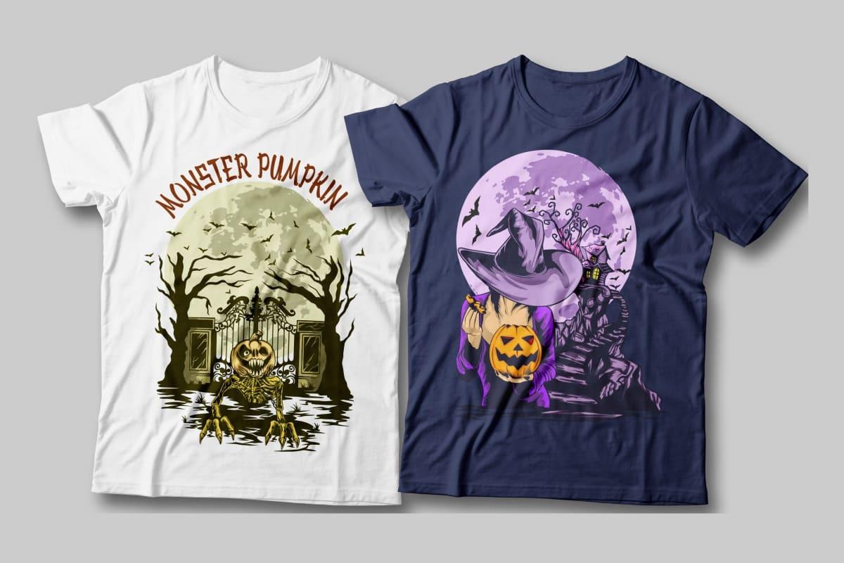 halloween t-shirt designs white and purple.