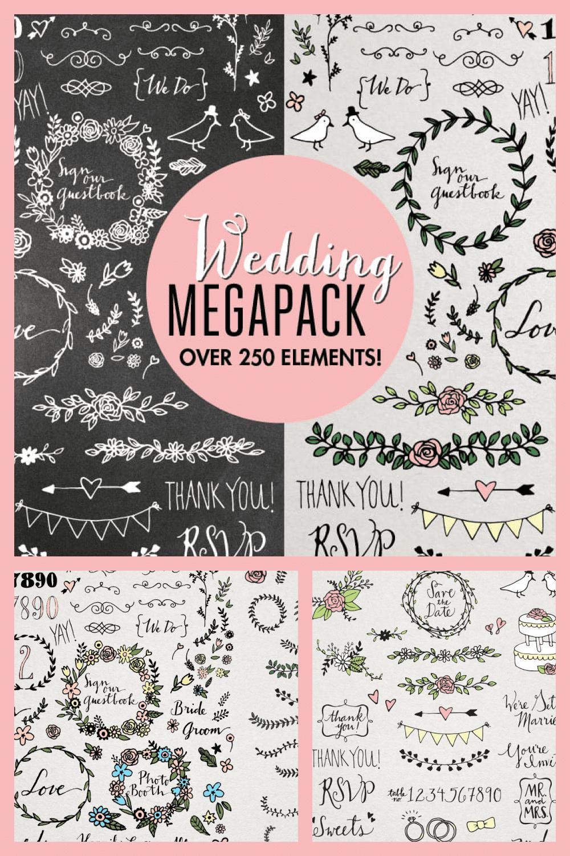 Wedding Illustrations Megapack - MasterBundles - Pinterest Collage Image.