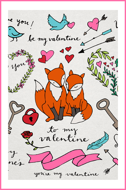 Valentine's Day Illustrations - MasterBundles - Pinterest Collage Image.
