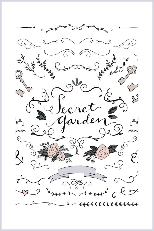 Secret Garden Wedding Illustrations - MasterBundles - Pinterest Collage Image.