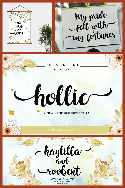 Hollic Elegant Brush Script Font - MasterBundles - Pinterest Collage Image.