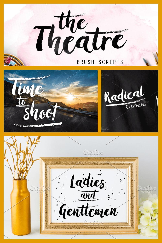 The Theatre Elegant Brush Script Font - MasterBundles - Pinterest Collage Image.