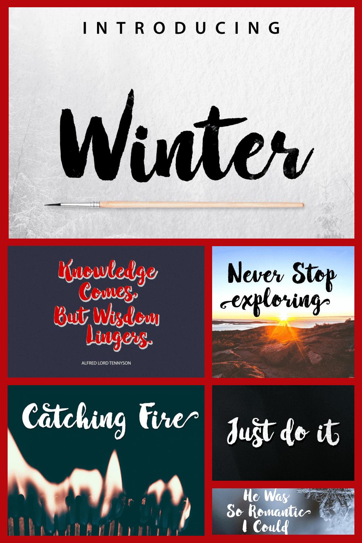 Winter Brush Textured Font - MasterBundles - Pinterest Collage Image.