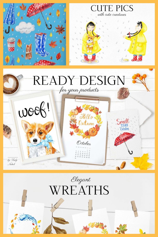 Hello Autumn: 70 Autumn Illustrations in Colored Pencil - MasterBundles - Pinterest Collage Image.